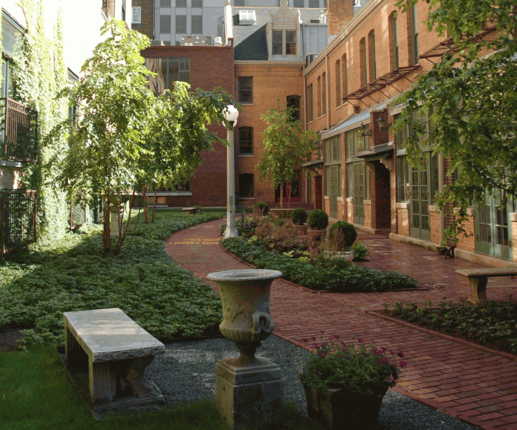Interior courtyard with a walkway